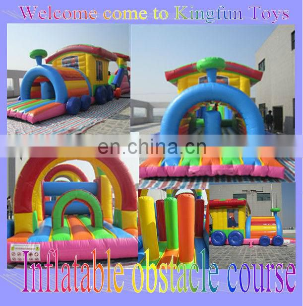 Giant train inflatable obstacle course for kdis/adult