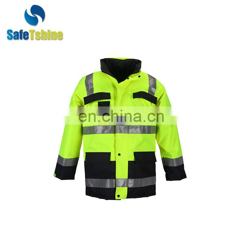 traffic safety hi vis workwear reflective winter jacket