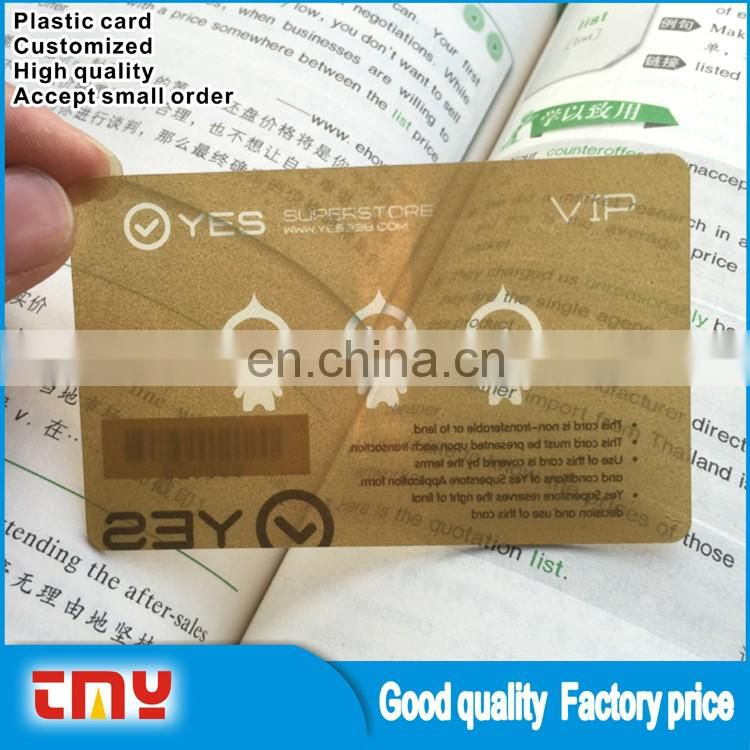 Custom Logo Clear PVC Member Card Transparent Plastic VIP Card Wholesale
