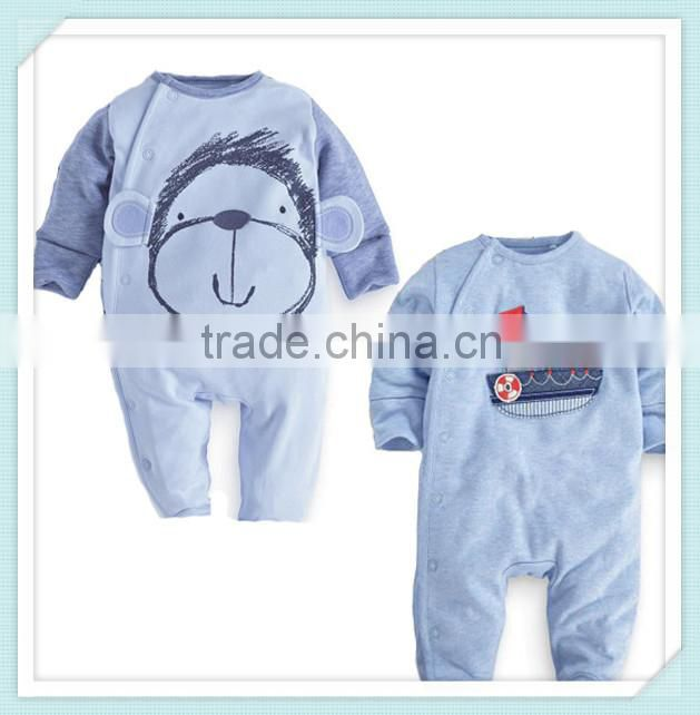 high quality 100% cotton newborn baby clothing infants baby girls boys cartoon monkey/boat romper clothes Xmas gift Image