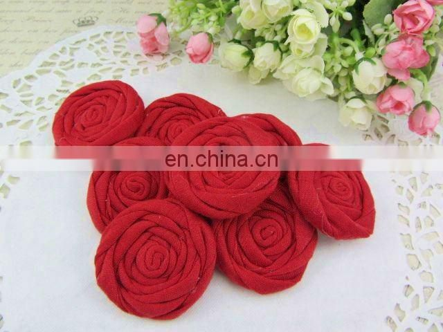 Fabric Rolled Flowers Cotton Rolled Rose Flowers Flat Back