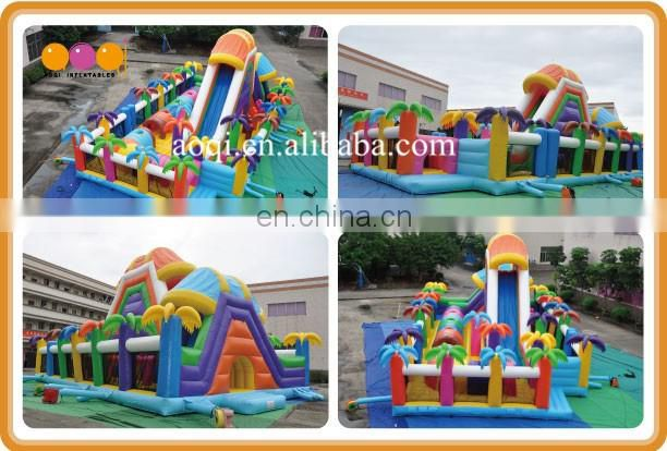 AOQI beautiful coco play school inflatable city playground garden game giant inflatable fun city for sale