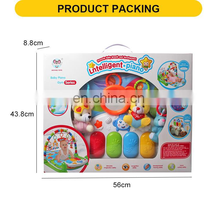 factory sale soft cloth bear toys early learning pedal piano care play mat for baby
