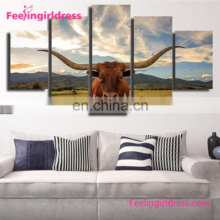 Artistic Oil Cattle Pattern Beautiful Scenery Wall Painting Living Room Modern