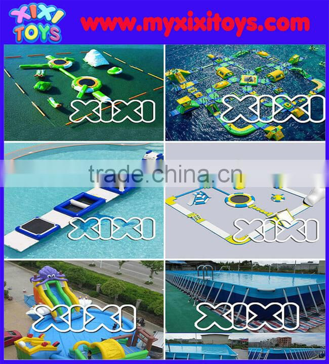 XIXI giant dual lane inflatable water slide with large swimming pool