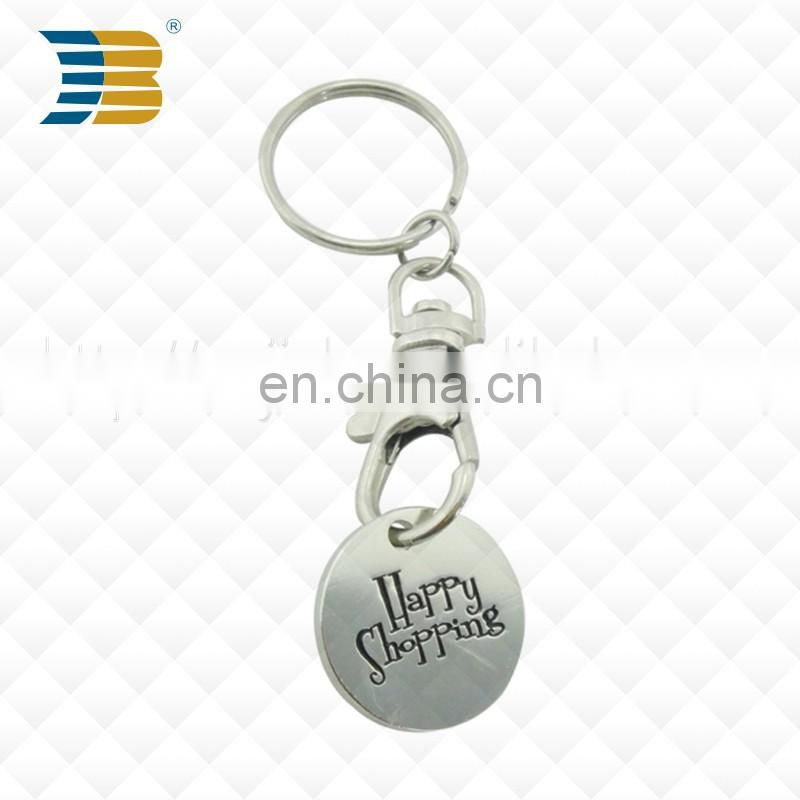 Cheap supermarket metal enamel token coin shopping trolley iron coin keychain