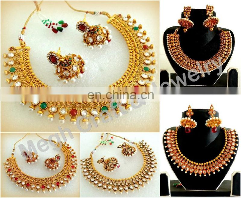 Pakistani Bridal Kundan jewellery - Wholesale real kundan jewelry - Indian ethnic bridal Kundan Jewelry