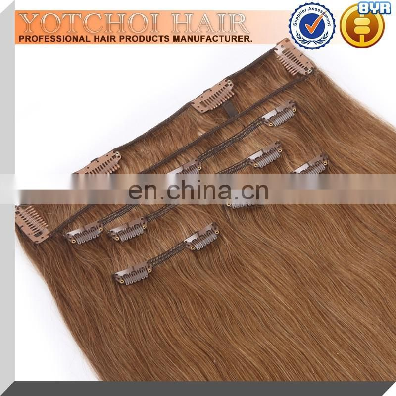 china wholesale hot sell cheap 20inch indian double drawn wefted clip in hair extension