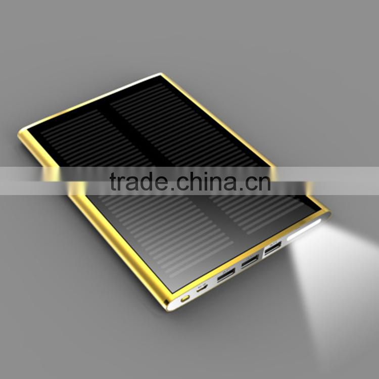 12000mah dual usb portable solar panel power bank