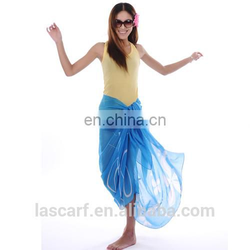 summer fashion polyester chiffon customized printed beach sarong