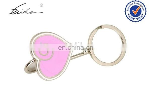 ladies Favor Flower Decorative metal Pink heart shape bag hanger with bow