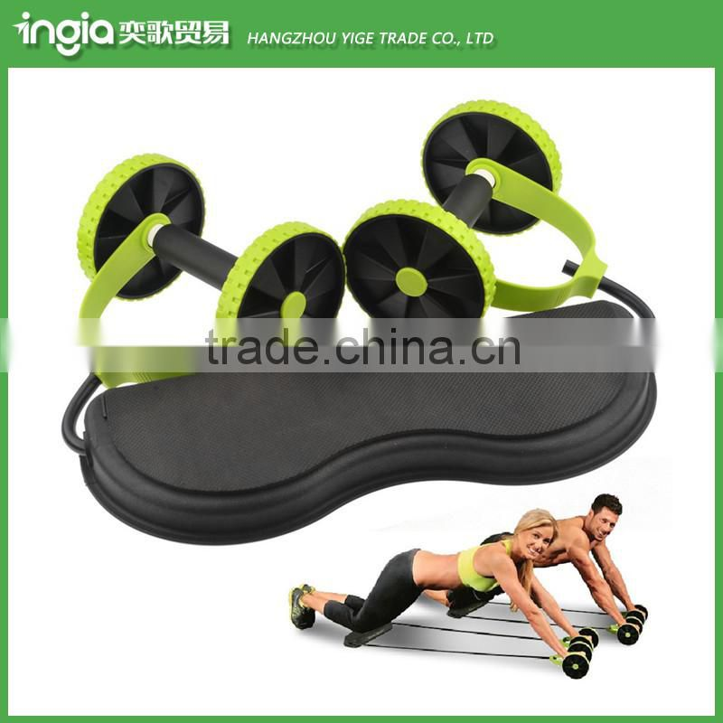 New Core Double Wheels Abdominal Waist Slimming Exercise Equipment AB Roller With Pull Rope