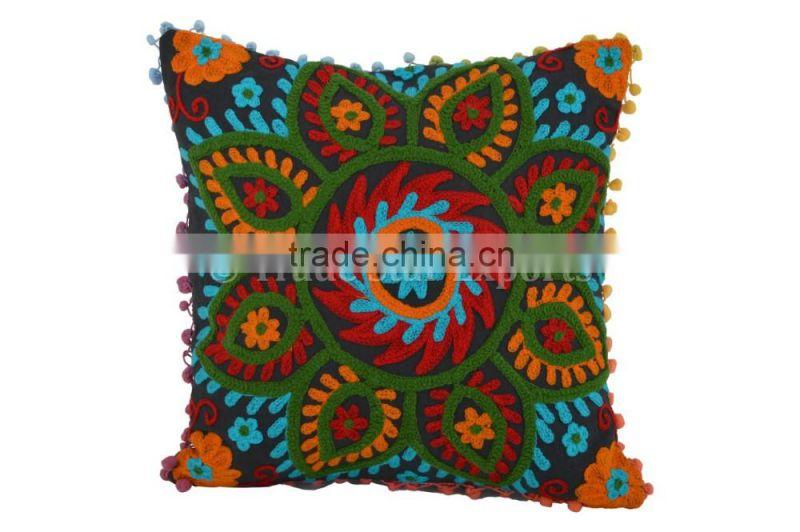 Indian Suzani Cushion Cover Cotton Embroidered Pillows Ethnic Shams Boho Throw