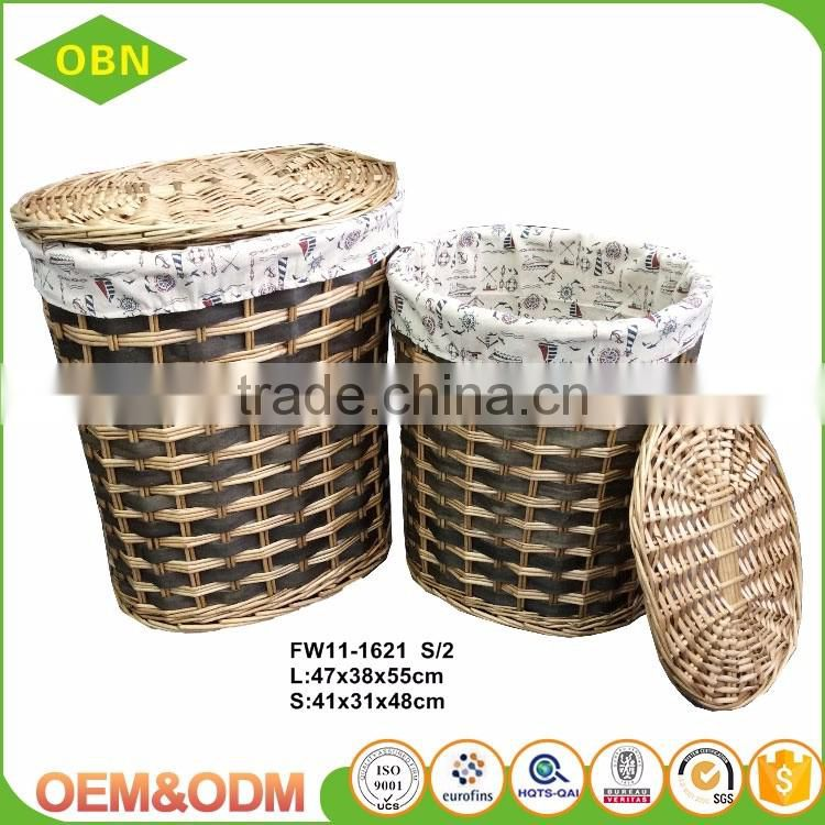 Wholesale storage basket customized wicker laundry basket with lids