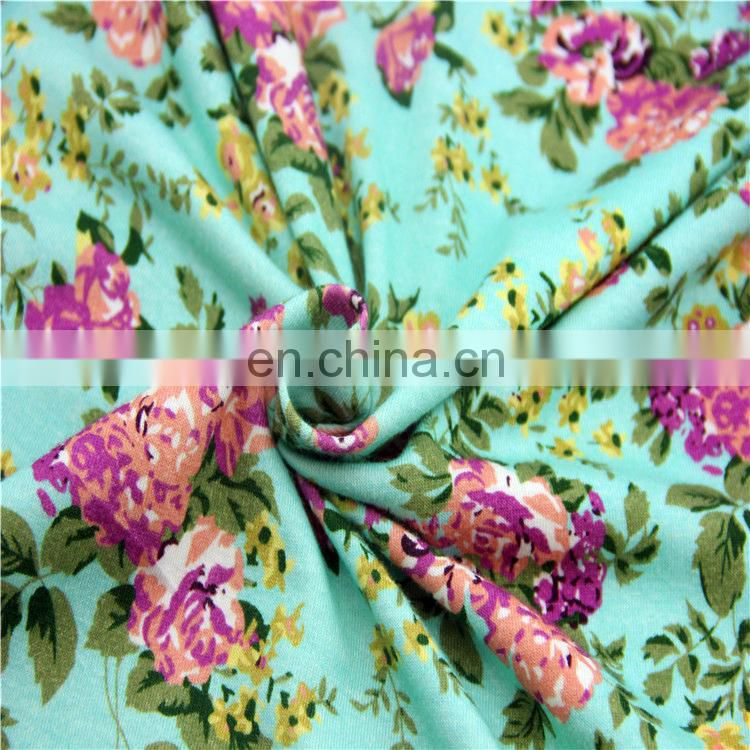 cotton spandex knitted printed fabric for baby