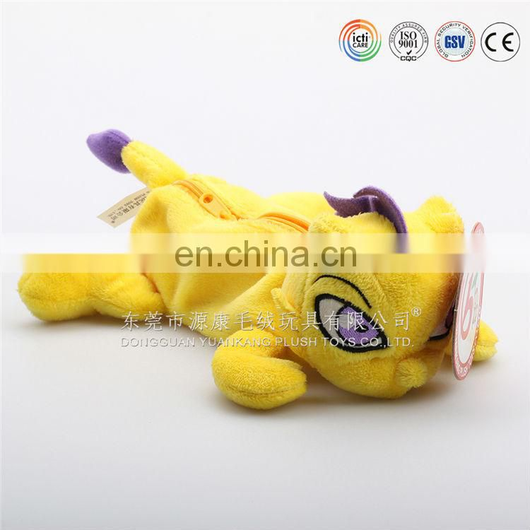 High quality plush animal shaped pencil case toys