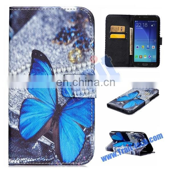 Cross Pattern Wallet Card Holder Flip Stand PU Leather Case for Samsung Galaxy J7