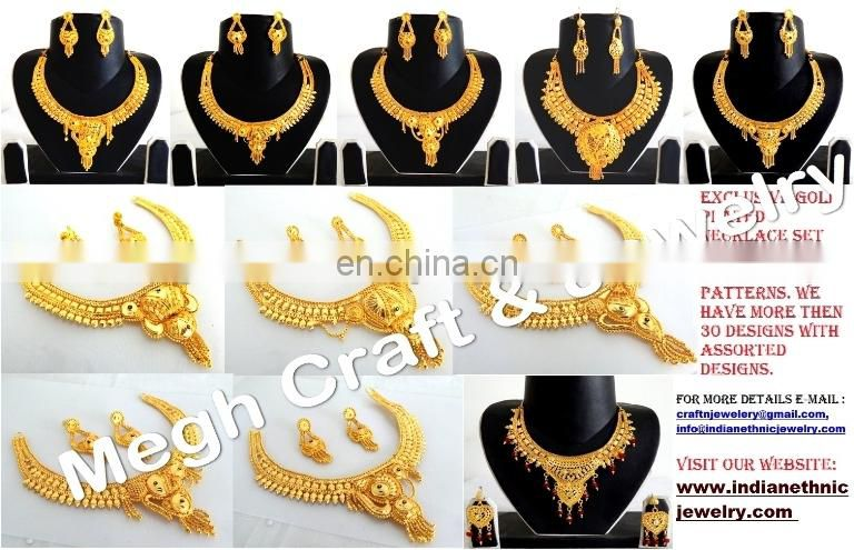 INDIAN ETHNIC GOLD PLATED PENDANT SET-WHOLESALE BOLLYWOOD FASHION JEWELLERY-IMITATION JEWELRY-GOLD PLATED SOUTH INDIAN JEWELRY