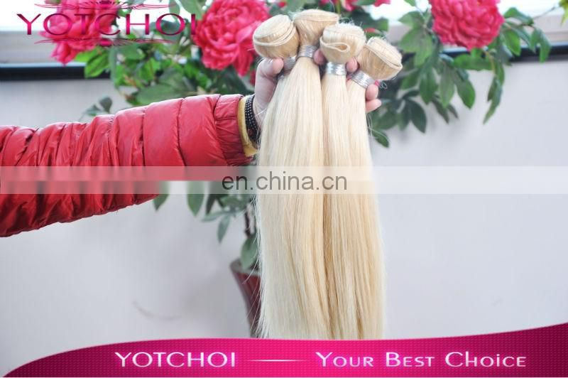 100% Virgin Human Silky Straight Blonde Indian Remy Hair Weft Top Quality