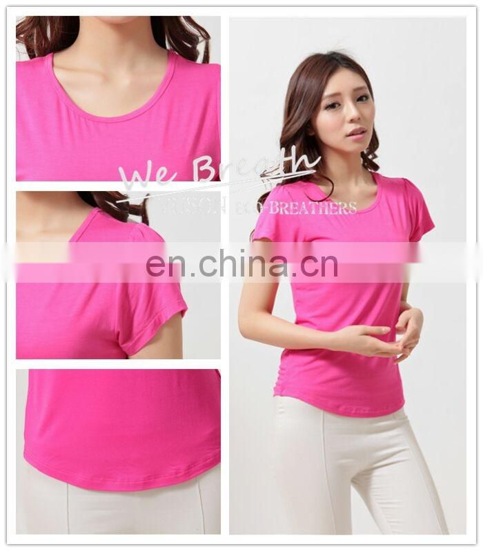 Ladies' short sleeves crew neck fitted base T-shirt Spring Summer