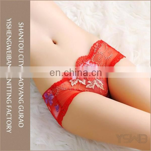 Popular comfortable red lace cotton anti-bacterial lady sexy panty