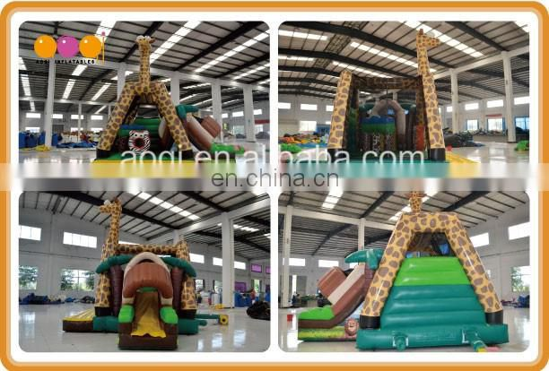 2016 AOQI newest design inflatable giraffe combo bouncer with slide for kids with free EN14960 certificate
