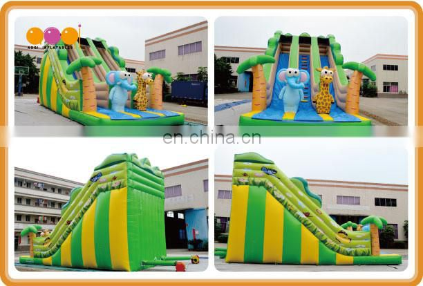 AOQI newest inflatable toy China high quality elephant inflatable slide with double slide lane for sale