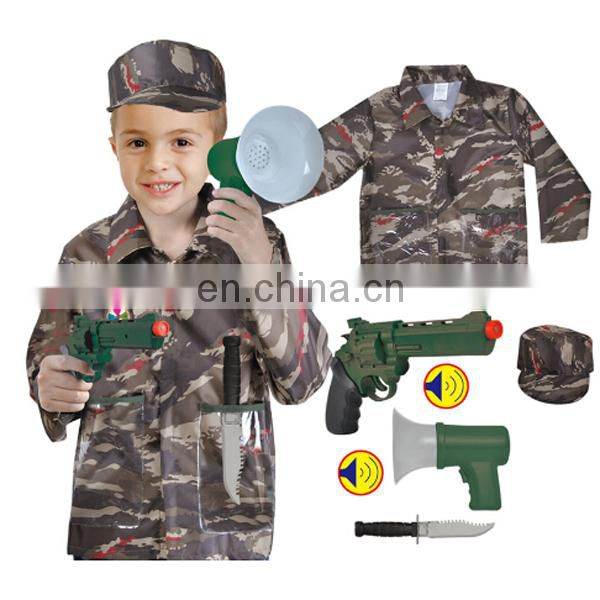 Long sleeve soldier children police costume party cosplay for sale