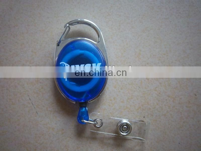 2017 Hot Sale oval Shape Metal Plastic Pull Reel Retractable Badge Holder with Carabiner Clip