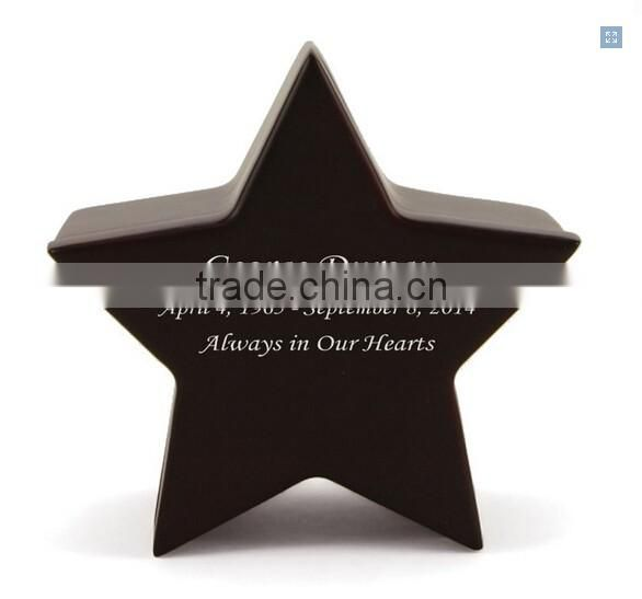 New design custom Star shape MDF Cherry Wood Keepsake ashes Urn