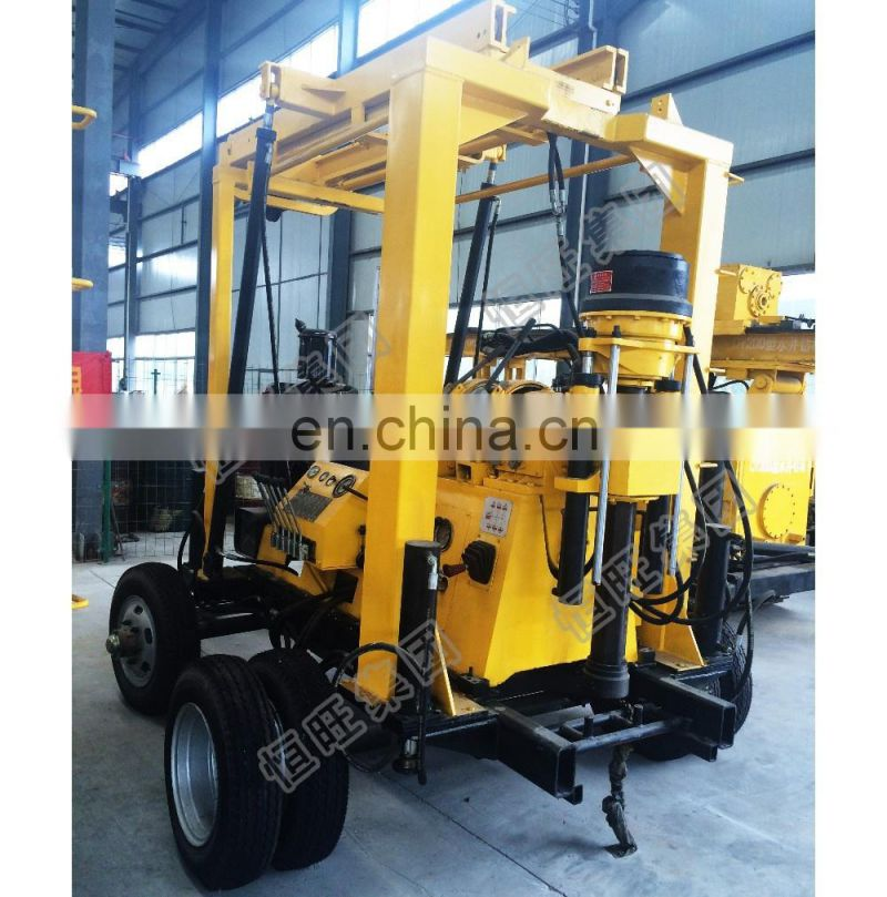 Hydraulic system tractor-mounted water well drilling rig with 4 hydraulic legs