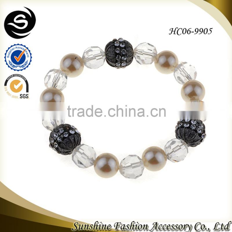 Pearl glass bracelet for 2015 ladies bracelet models plated in silver handmade jewelry manufactured in China yiwu