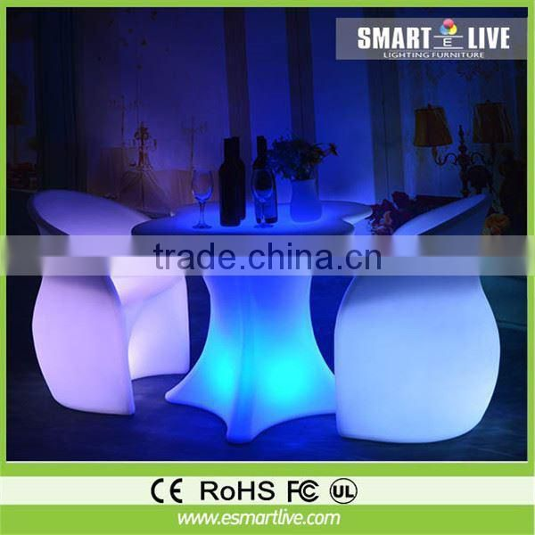 China supplier growing plastic led bar tables and chairs for pub hotel restaurant