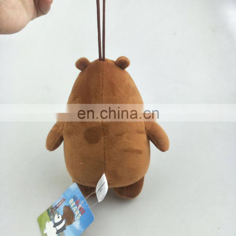 lovely We Bare bears hanging soft toys Grizzly Panda Ice plush bear toys