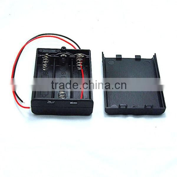 ON/OFF Switch Black 3 x 1.5V AA Batteries Holder Case Storage Box with lead wire