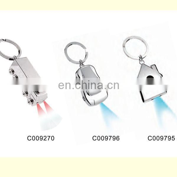Useful wholesale cheap price custom promotional metal mini LED keychain with multiple rings