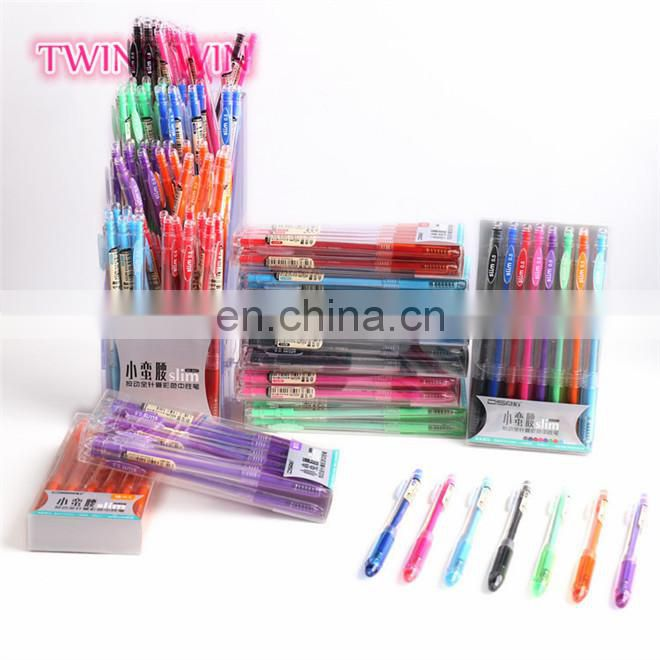 New Arrival Quality good cute school stationery korean hotsale gel pen plastic ink pens with logo