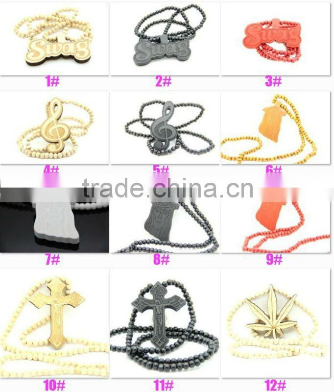 Good quality Hip-hop radio Pendant wood Ball Bead Chain Necklaces