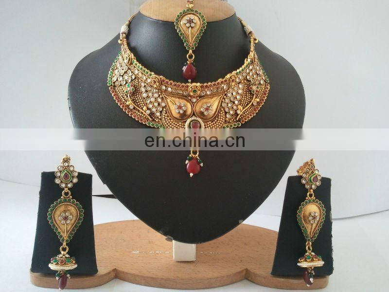 INDIAN DESIGNER POLKI BRIDAL JEWELRY NECKLACE SET