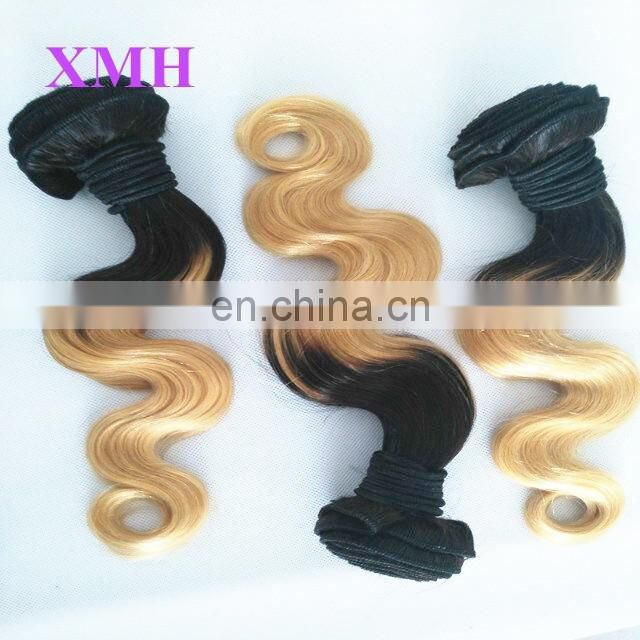New arrival large stock 12inch &14inch virgin hair bundles black blonde ombre human hair