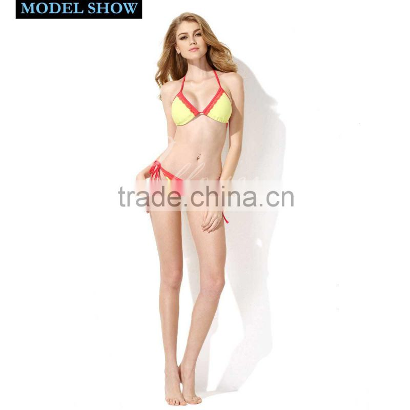 New Sexy Triangle Top 2016 Bikini Swimsuit Greenish Yellow + Red Lace with Classic Cut Bottom Colloyes