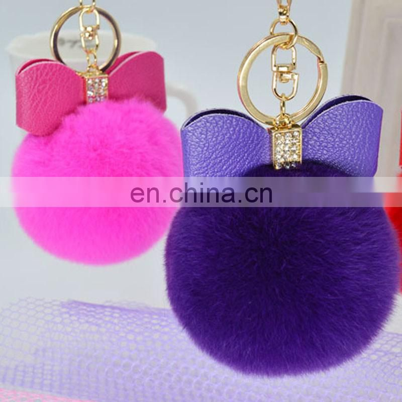 Top quality fancy rabbit fur pom pom key chain/bag charm China