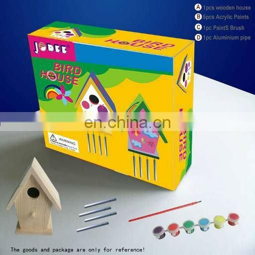 DIY painting your own wooden bird house for kids