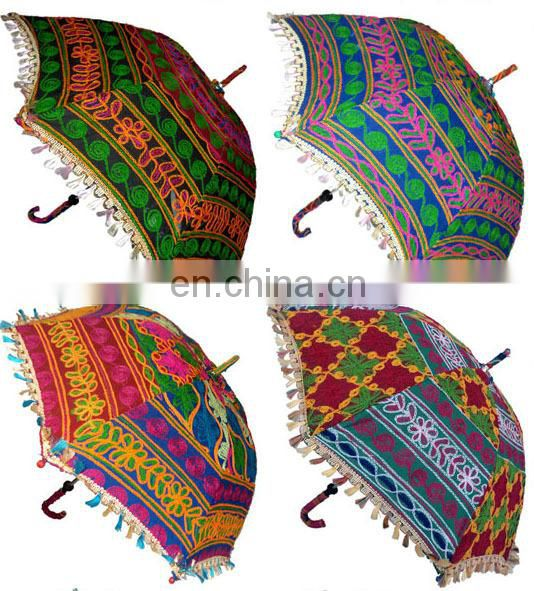Vintage Embroidered Handmade indian parasols umbrellas