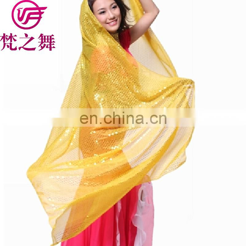 P-9011 210*110cm Glittery shiny dot retangle indian belly dance veil