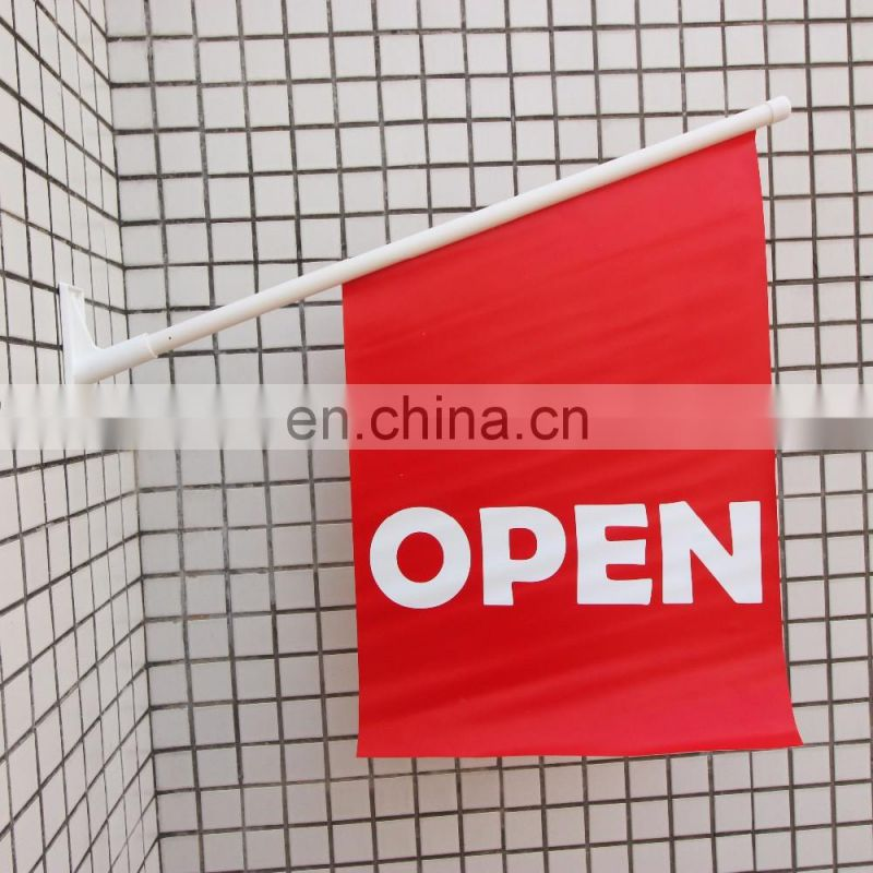 customized size shop promotion wall flag pole mounting flag