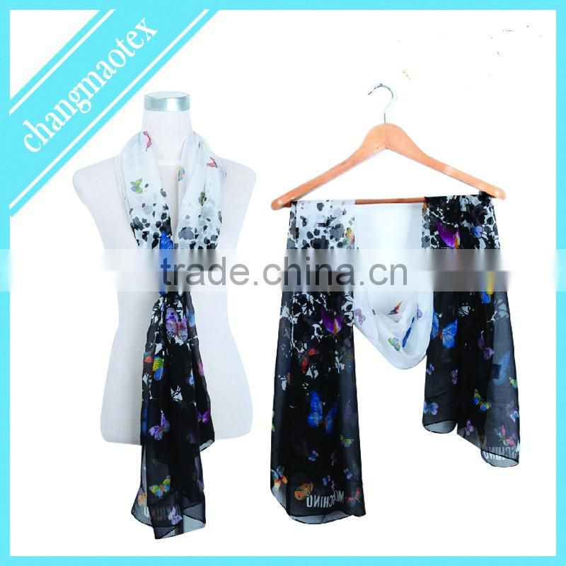 2016 summer fashion polyester voile scarf with flora prints