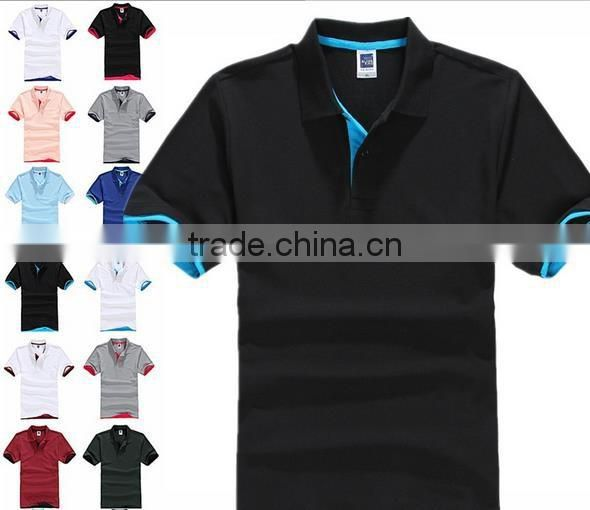 blank t shirt beaded cotton double color collar polo shirt 195g CVC materials polo t shirt for men