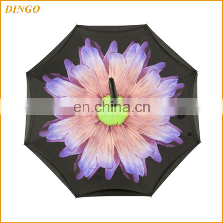 Hot inverted reverse double canopy wind resistant cone handle umbrella