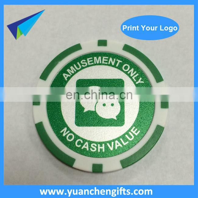 2016 Custom logo printed on 2 sides poker chips golf plastic ball marker